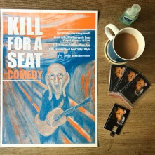 Kill For A Seat Comedy: Risoprint by Footprinters Co-op, Leeds. Design by Rob Ellis, Artwork by Olaf Falafel/Tringe
